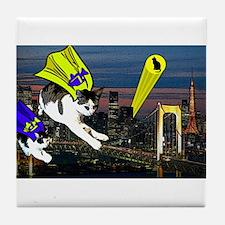 The Cat Signal Tile Coaster