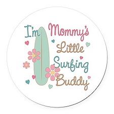 Mom's Surfing Buddy Round Car Magnet