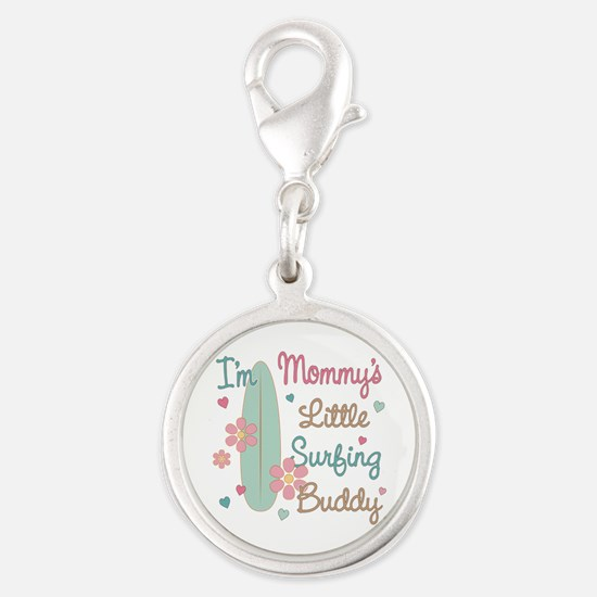 Mom's Surfing Buddy Silver Round Charm
