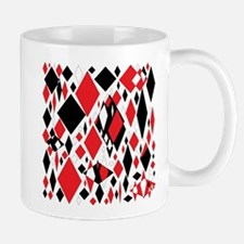Distorted Diamonds in Black & Red Mugs
