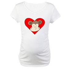 Smirking Monkey Face Heart Shirt