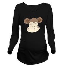 Smirking Monkey Face Long Sleeve Maternity T-Shirt