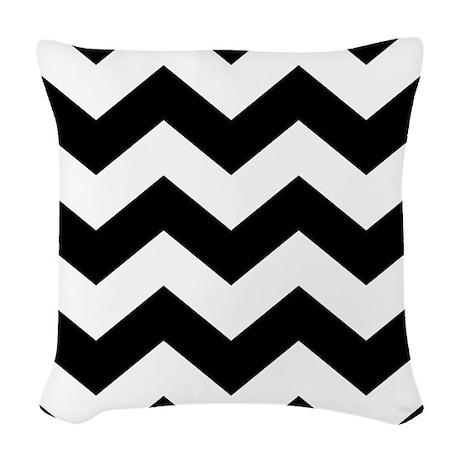 Black And White Chevron Throw Pillows : Black And White Chevron Woven Throw Pillow by BeautifulBed