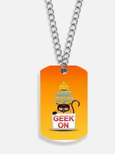 Keep Calm and Geek on! Cartoon Cat Dog Tags