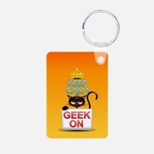 Keep Calm and Geek on! Cartoon Cat Keychains