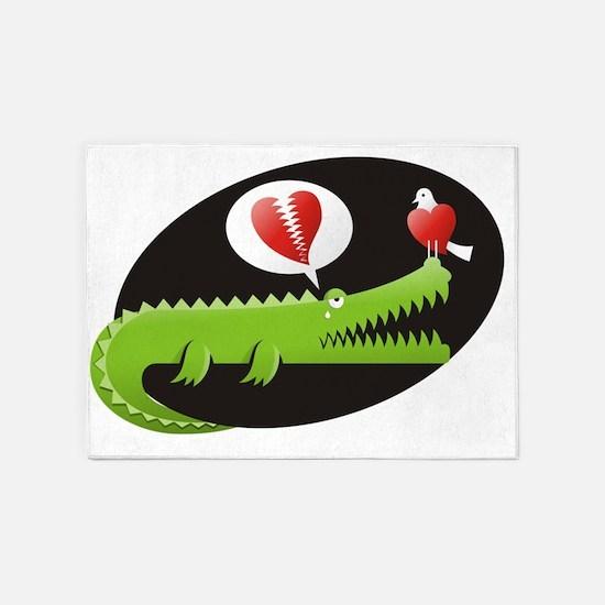 Alligator in Love 5'x7'Area Rug
