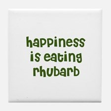 happiness is eating rhubarb Tile Coaster