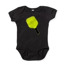 Yellow pickle ball pickleball paddle Baby Bodysuit