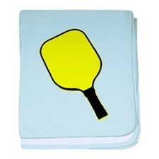 Yellow pickle ball pickleball paddle baby blanket