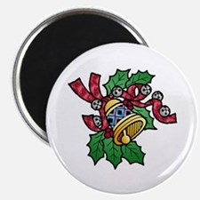 """Christmas Art Holly and Bells 2.25"""" Magnet (10)"""