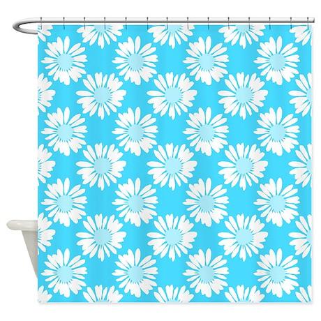 Blue Flowers Shower Curtain By Ornaartzi