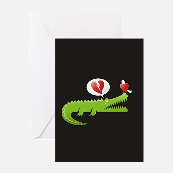 Alligator in Love background Greeting Cards