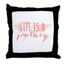 Life is a journey world map Throw Pillow