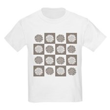 modern trend grey and white floral T-Shirt