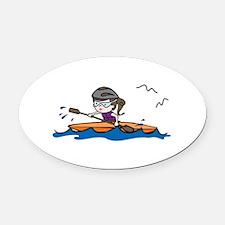 Kayak Girl Oval Car Magnet