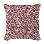 Art Deco Damask pink Woven Throw Pillow