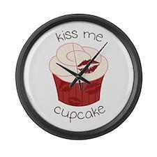 Kiss Me Cupcake Large Wall Clock