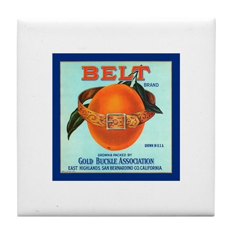 Belt Oranges Emblem Tile Coaster