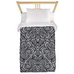 Art Deco Damask gray Twin Duvet