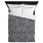 Art Deco Damask gray Queen Duvet