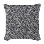 Art Deco Damask gray Woven Throw Pillow