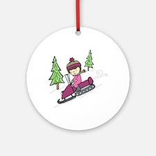 Snowmobile Downhill Ornament (Round)