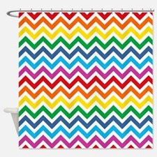 Rainbow Chevron Pattern Shower Curtain