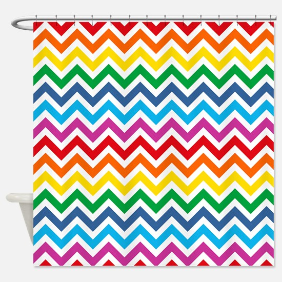 Rainbow Chevron Pattern Shower Curtain