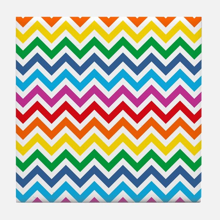 Rainbow Chevron Pattern Tile Coaster