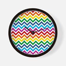 Rainbow Chevron Pattern Wall Clock