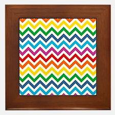 Rainbow Chevron Pattern Framed Tile