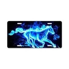 Flamed Horse Aluminum License Plate