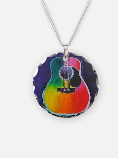 Cute Acoustic guitar Necklace Circle Charm