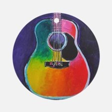 Cute Acoustic guitar Round Ornament
