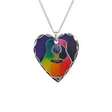 Funny Acoustic guitar Necklace Heart Charm