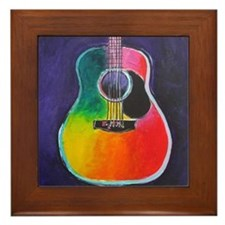 Cute Acoustic guitar Framed Tile