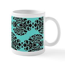 aqua blue and black ornate damask Mugs