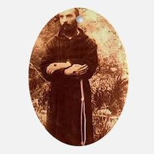 Youg Padre Pio Oval Ornament