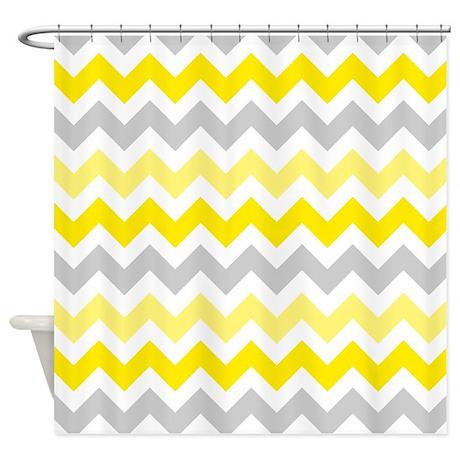 yellow grey chevron shower curtain by admin cp2452714