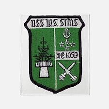 uss w. s. sims de patch Throw Blanket