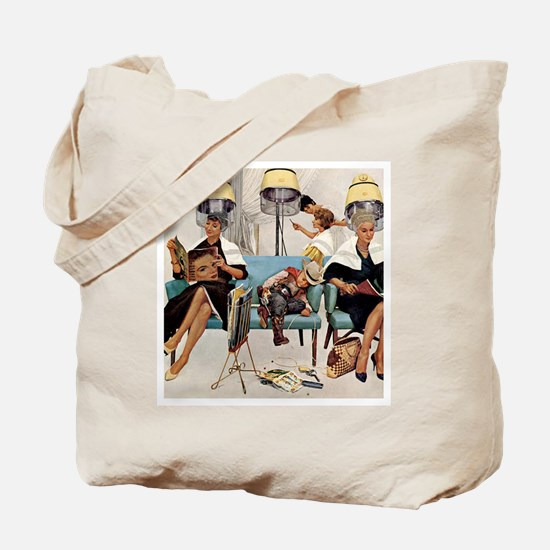 Retro Beauty Salon, Vintage Poster Tote Bag