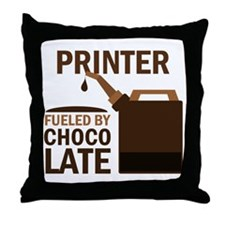 Printer Fueled by chocolate Throw Pillow
