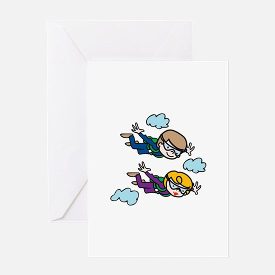 Skydiving Kids Greeting Cards