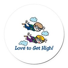 Skydiving High Round Car Magnet