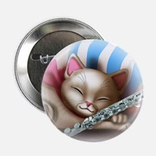 "Napping Cat and Flute 2.25"" Button"