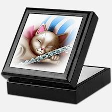 Napping Cat and Flute Keepsake Box