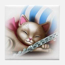 Napping Cat and Flute Tile Coaster