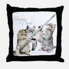 Felines & Flute Throw Pillow