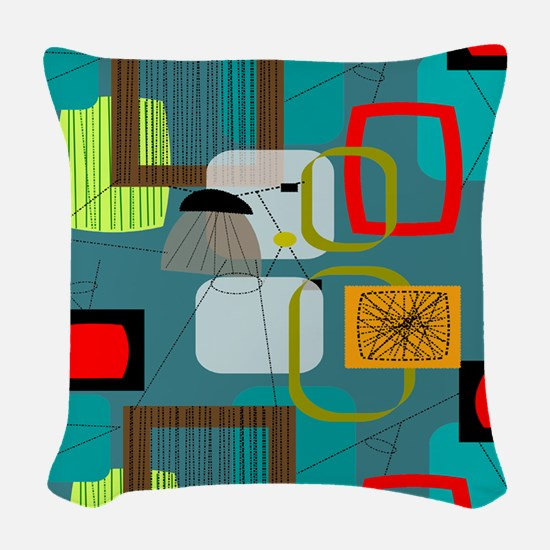 Mid-Century Modern Abstract Woven Throw Pillow