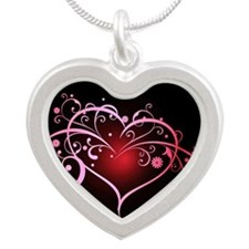 Floral heart on black Necklaces